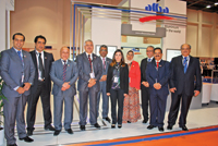 Alba officials at the company's stand at Aluminium Middle East 2013