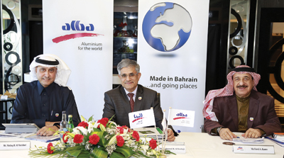 Al Kooheji (centre) at the Alba board of directors meeting