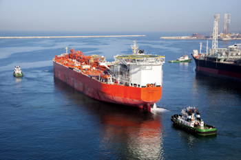 The Eagle Louisiana moving out of Drydocks World, Dubai, after the conversion job
