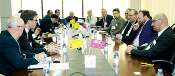 The French delegation during a meeting at Alba
