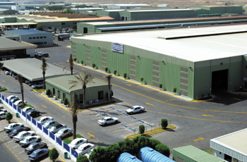 An aerial view of Zamil Steel's pre-engineered steel building facilities in Dammam