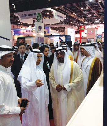 Sheikh Ahmed and Bin Kalban at the DI stand at Wetex 2014