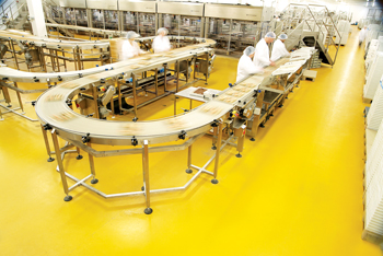 A food plant equipped with a Flowcrete floor to ensure a safe and healthy work space