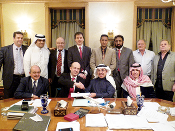 Group Five Pipe Saudi and Schuler officials at the signing of the plant order