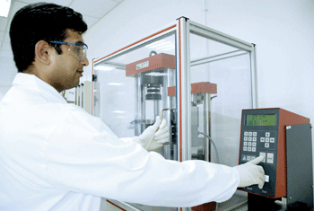 An attendant at the Wacker Technical Centre in Dubai