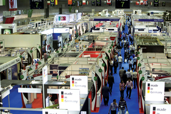 Stalls and visitors at Project Qatar in Doha