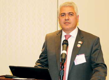 Al Ansari delivering a keynote speech at the roundtable event in the US