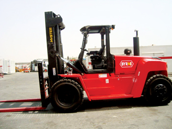 Byrne offers a range of material-handling equipment including 16-tonne forklifts