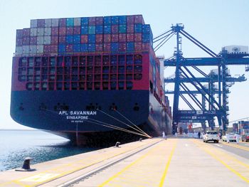 APL Line's Savannah at the Oman International Container Terminal