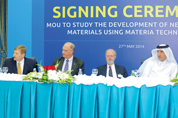 Dr Mulla (right) at the Qapco-Materia MoU signing ceremony