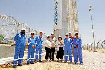 The US ambassador with GlassPoint, PDO and US embassy officials during her visit to the pilot plant