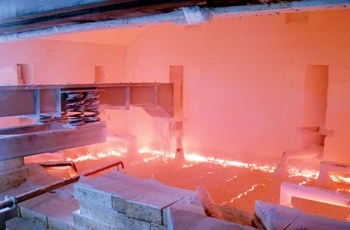 View into one of JSJ Jodeit's all-electric melting furnaces for alkali-free alumo-borosilicate glass