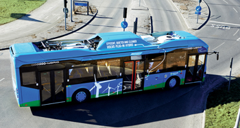A Volvo electric-hybrid bus