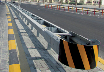 A crash barrier made by the company's Amgard brand