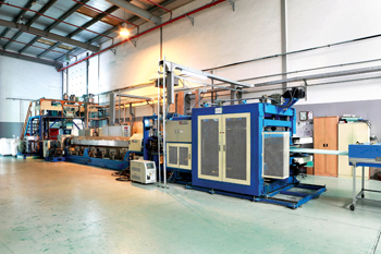 Equipment at a plant of Emirates Extruded Polystyrene, a Dubai Investments firm