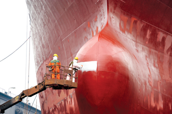 A vessel gets a paint job at the Asry yard