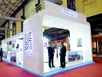 The Emirates Steel pavilion at The Big 5 Construct India show in Mumbai