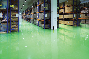 Sleek but also sturdy and safe: a Flowcrete flooring at a warehouse