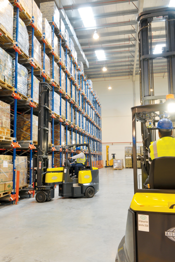 Facilitating growth in employment, Majaal is the new workplace for a host of Bahrainis labouring in the industrial sector. Picture shows a warehouse of Abudawood Al Saffar Company
