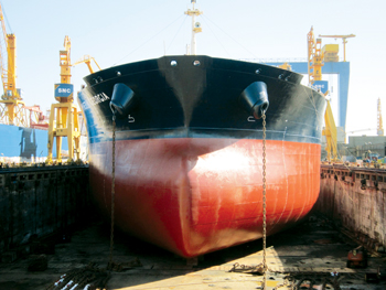 A shipyard picture of a vessel after application of one of the latest antifouling products