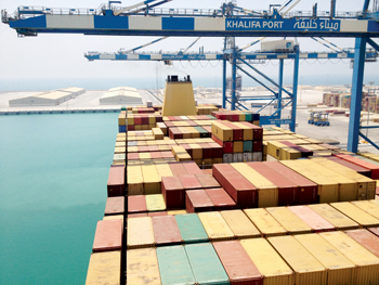 The fast-expanding Khalifa Port, Abu Dhabi, where the TOS will come in very handy