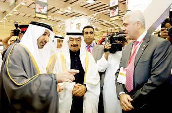 HRH Prince Khalifa and Sheikh Daij during the Premier's visit to the Alba stall