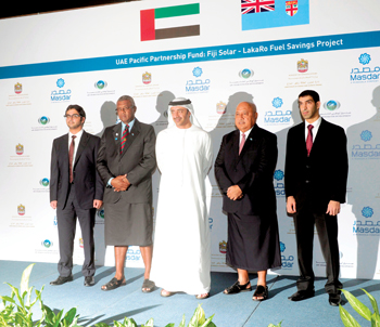 Sheikh Abdullah (third left), Sheikh Sultan (left) and Dr Al Zeyoudi (right) with Fijian officials K