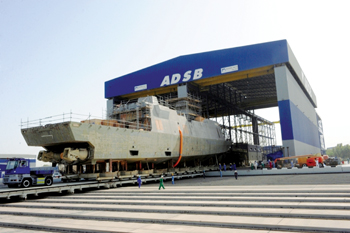 A naval vessel being built at Abu Dhabi Ship Building Company's yard