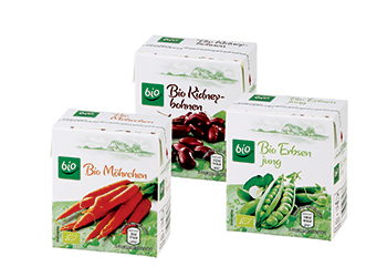 Aldi Süd has placed on supermarket shelves organic vegetables packed in combisafe 300 ml cartons fro
