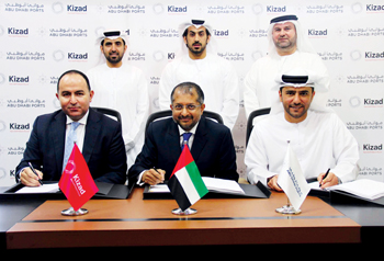 Officials of Kizad, Abu Dhabi Ports and FourWinds at the signing ceremony