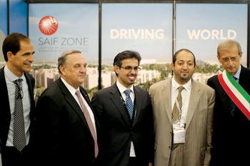 Al Mazrouei (second right) and Fassino (right) in Torino