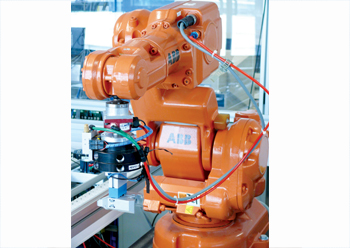 An ABB industrial robot in France