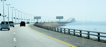 The road linking Bahrain and Saudi Arabia