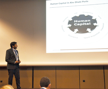 An Abu Dhabi Ports official speaking at an international HR event in Paris