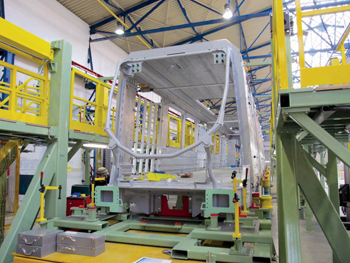 The first carbody of the Riyadh Metro being built in Katowice, Poland