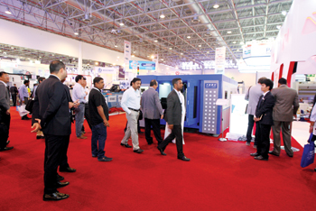 A throng of visitors at a previous SteelFab event