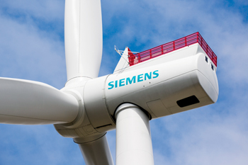 The new Siemens SWT-7.0-154 Offshore wind turbine is currently being tested in Østerild, Denmark.