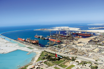 A bird's eye view of Drydocks World's Dubai yard