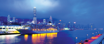 The World is to be retrofitted with Wärtsilä solutions. Here the ship is in Hong Kong