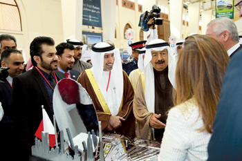The Prime Minister, HRH Prince Khalifa, visiting the Alba pavilion