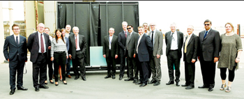 Officials at the Emirates Insolaire plant in Dubai prior to the shipping of the glass to the Copenha