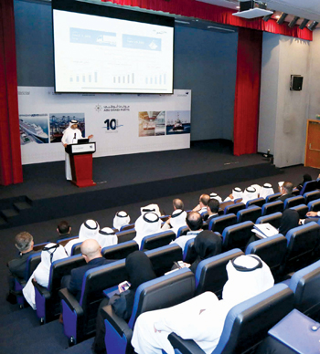 Al Shamisi speaking at a strategy workshop for stakeholders of Abu Dhabi Ports and Kizad