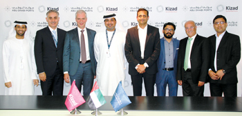 Officials of Sobha group and Kizad after the signing of a lease agreement