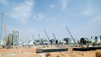 Construction in progress for the PP-13 power plant of SEC Dhuruma, Saudi Arabia