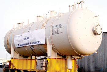 A pressure vessel under fabrication for Reliance's J3 fuel refinery complex