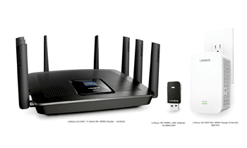 Linksys' latest Mu-Mimo offerings (from left) the router, adapter and range extender