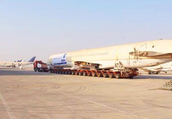 43 m long aircraft being towed away
