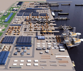An artist's impression of the King Salman International Complex for Maritime Industries and Services project