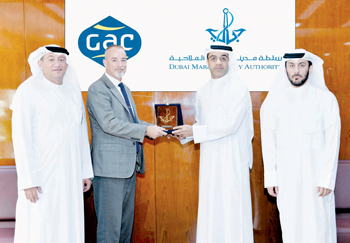 Amer Ali and his team receiving Simon Duran, the director general of GAC EnvironHull Limited at the