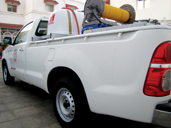 A Masa truck at the project site for post-construction termite treatment